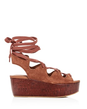 See by Chloé - Women's Suede Lace Up Platform Wedge Sandals