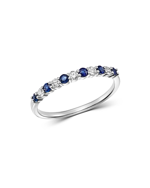 Bloomingdale's Diamond & Blue Sapphire Stacking Ring in 14K White Gold - 100% Exclusive