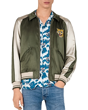 The Couples Embroidered Color-Block Bomber Jacket