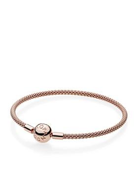 PANDORA - Rose Gold-Tone Sterling Silver Rose Mesh Bracelet ...