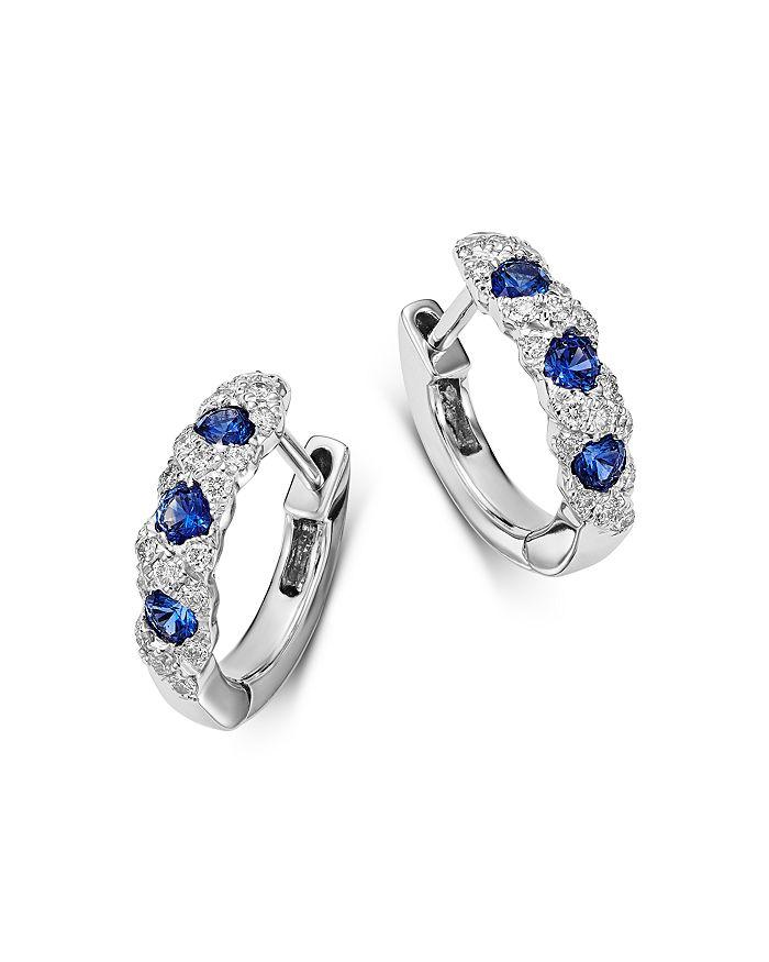 Bloomingdale's - Diamond & Blue Sapphire Huggie Hoop Earrings in 14K White Gold - 100% Exclusive