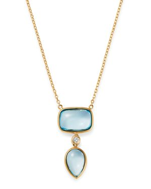 OLIVIA B 14K Yellow Gold Tiered Sky Blue Topaz & Diamond Drop Pendant Necklace, 17 - 100% Exclusive in Blue/Gold
