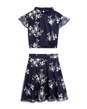 Miss Behave Girls Diana Floral Embroidered Top  Skirt Set  Big Kid