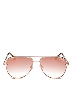 Quay - Women's High Key Mirrored Mini Aviator Sunglasses, 53mm