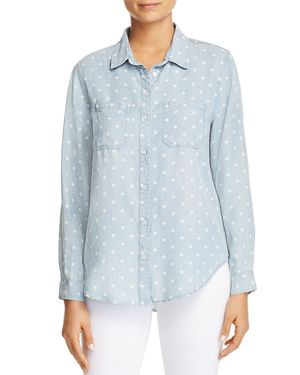 Velvet Heart Dotted Chambray Button-Down Top