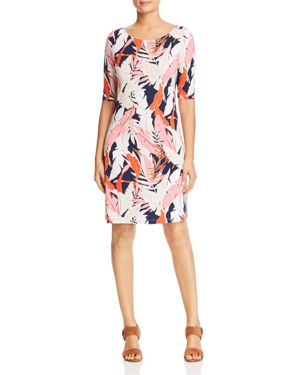 Lily Leaf Toss Shift Dress in Pink Confetti