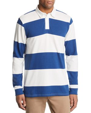 PACIFIC & PARK Striped Rugby Shirt - 100% Exclusive in White/Navy