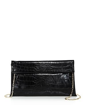 Aqua Medium Croc-Embossed Foldover Crossbody Clutch - 100% Exclusive-Handbags