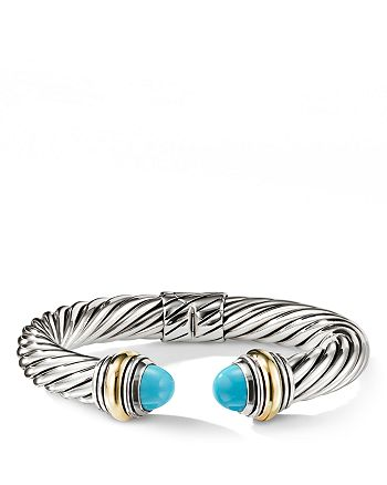 David Yurman - Cable Classics Bracelet with Turquoise and 14K Gold, 10mm