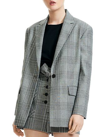 Maje - Vaime Plaid Single-Button Blazer