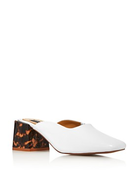 JAGGAR - Women's Pulse Square Toe Mid-Heel Leather Mules