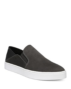 Vince - Women's Garvey Round Toe Slip-On Suede & Leather Sneakers
