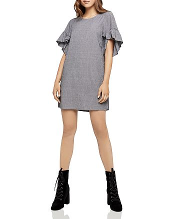 BCBGeneration - Ruffle-Sleeve Pinstriped Shift Dress