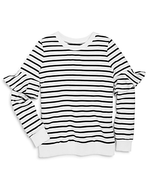 Aqua Girls Striped Sweater with Ruffled Sleeves Big Kid  100 Exclusive