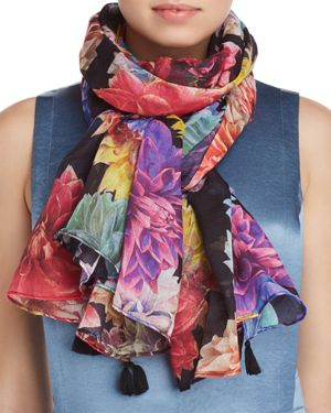 LARIOSETA Tassel Floral Print Silk Scarf in Multi