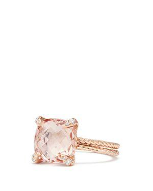 DAVID YURMAN CHATELAINE RING WITH MORGANITE AND DIAMONDS IN 18K ROSE GOLD