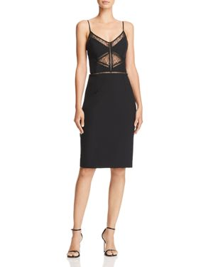 BARDOT Jayne Lace Inset Cocktail Dress in Black