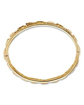 Michael Kors Pavé Link Hinge Bangle Bracelet In 14k Gold Plated Sterling Silver