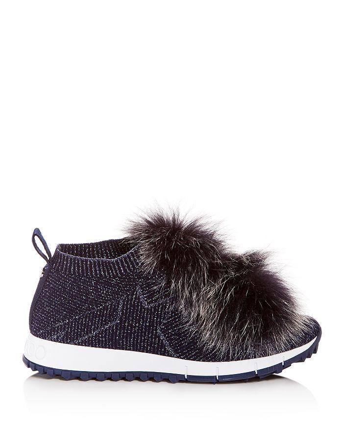 5e4af156e245 Jimmy Choo Women s Norway Fox Fur Pom-Pom Slip-On Sneakers ...