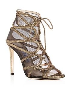 Jimmy Choo - Women's Malena 100 Crackled Leather High-Heel Sandals