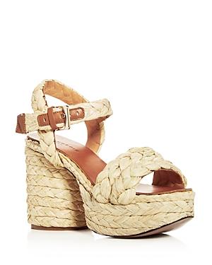 Robert Clergerie Women's Vittoria Raffia High-Heel Platform Sandals