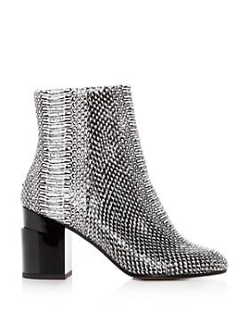 Clergerie - Women's Keyla Snake-Embossed Leather Block-Heel Booties