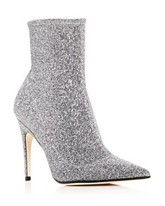 Sergio Rossi - Women's Glitter Knit Pointed Toe Booties