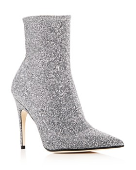 baa5757b17c9 Sergio Rossi - Women s Glitter Knit Pointed Toe Booties ...