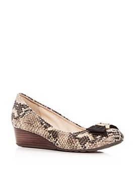 Cole Haan - Women's Tali Snake-Embossed Leather Demi-Wedge Pumps
