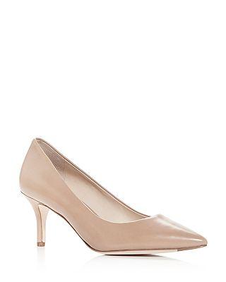 Cole Haan - Women's Vesta Leather Pointed Toe Mid-Heel Pumps
