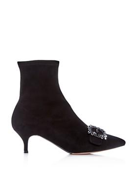 Tabitha Simmons - Women's Oscar Suede Kitten-Heel Booties