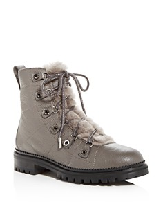 Jimmy Choo - Women's Hillary Leather & Shearling Hiking Boots