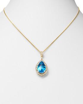 "Bloomingdale's - Swiss Blue Topaz & Diamond Teardrop Pendant Necklace in 14K Yellow Gold, 18"" - 100% Exclusive"