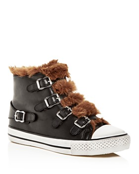Ash - Women's Valko Leather & Faux-Shearling High Top Sneakers