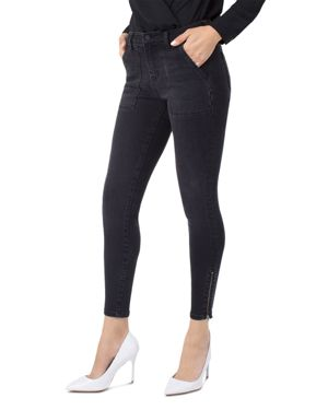 Liverpool Cargo Zip Ankle Jeans in Carbon Wash