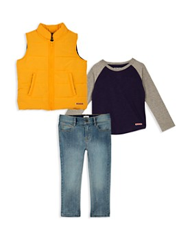 Hudson - Boys' Puffer Vest, Raglan Tee & Faded Jeans Set - Little Kid