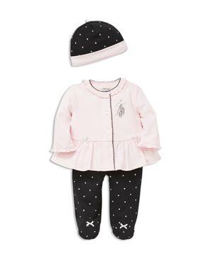Little Me Girls' Ballet Slippers Cardigan, Footie Pants & Hat Set - Baby