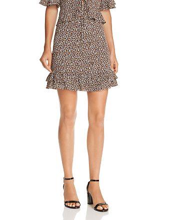 AQUA - Flounce-Hem Leopard Print Skirt - 100% Exclusive