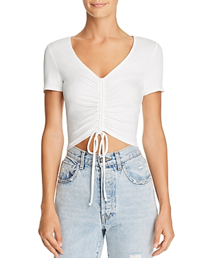 Aqua Ruched Drawstring Cropped Tee - 100% Exclusive
