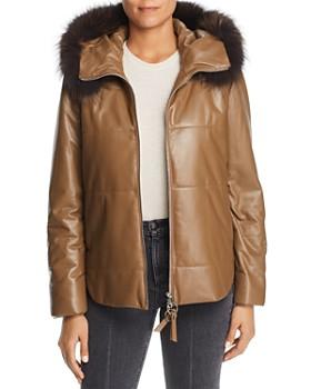 Maximilian Furs - Fox Fur Trim Leather Jacket - 100% Exclusive