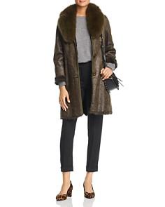 Maximilian Furs - Rabbit Fur Coat with Fox Fur Collar