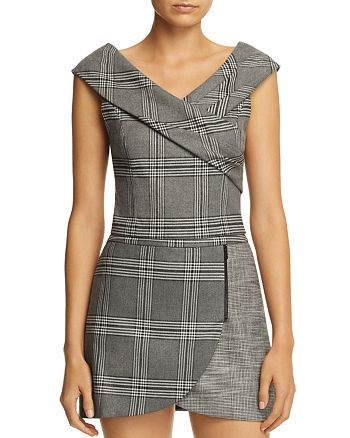 Alice and Olivia - Deandra Plaid Cropped Top