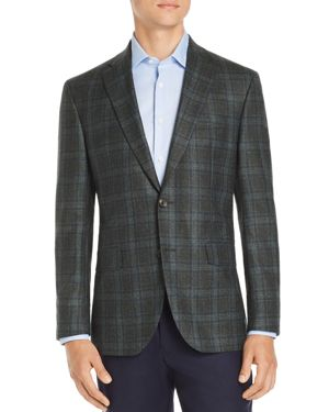 JACK VICTOR Regular Fit Plaid Wool Sport Coat - 100% Exclusive in Dark Green/Navy