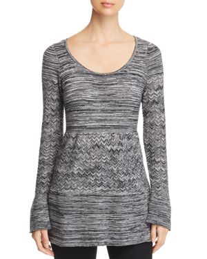 HEATHER B Marled Tunic Sweater in Black/White
