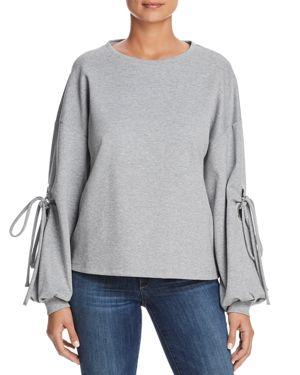 VELVET HEART Lucille Tie-Sleeve Sweatshirt in Gray