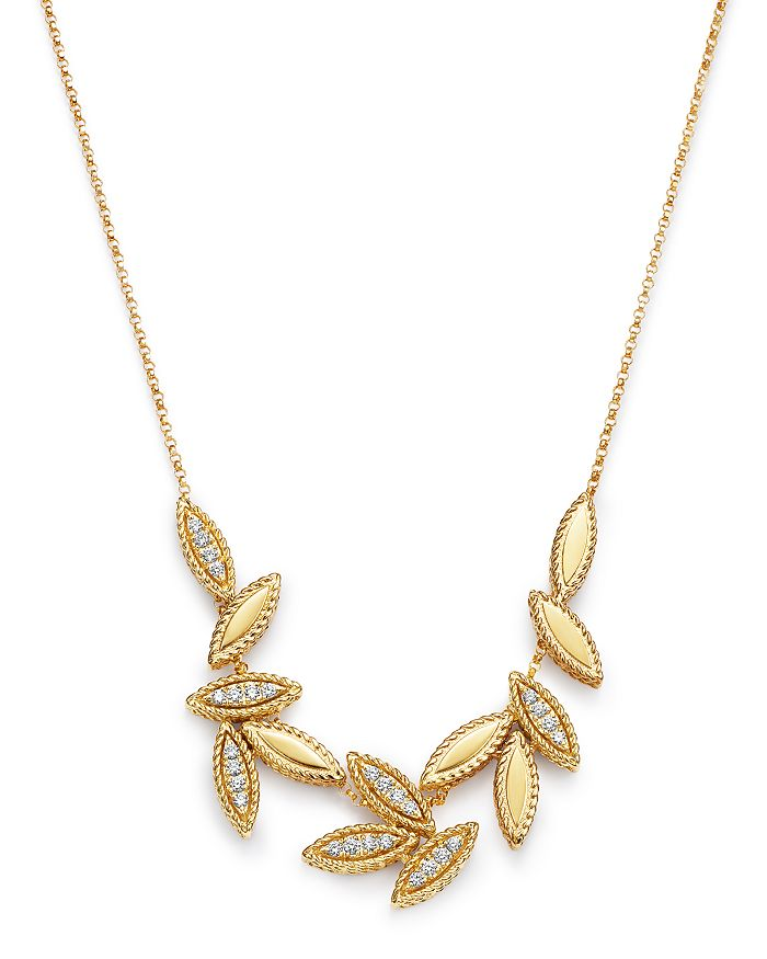"Roberto Coin - 18K Yellow Gold Diamond Petals Diamond Cluster Necklace, 16"" - 100% Exclusive"