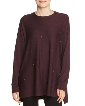 CAPOTE Embellished Tunic Sweatshirt in Burgundy
