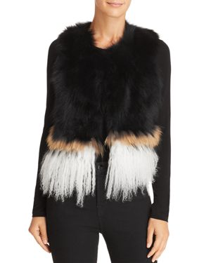 525 AMERICA Real Asiatic Raccoon Fur & Mongolian Lamb Vest in Black Multi