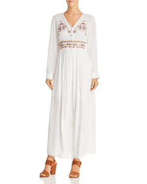 EN CREME Embroidered Maxi Dress in White