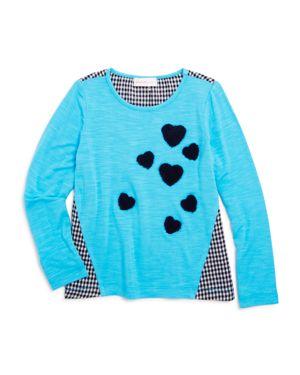 Design History Girls' Contrast Gingham Heart Top - Little Kid